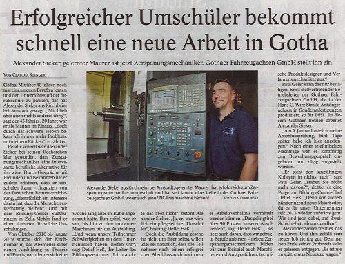 Erfolgreicher Umschüler bekommt schnell eine neue Arbeit in Gotha